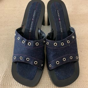 Tommy Hilfiger Shoes - Vintage 90s Tommy Hilfiger Chunky Denim Heels